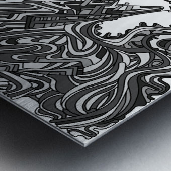 Wandering Abstract Line Art 05: Grayscale Metal print