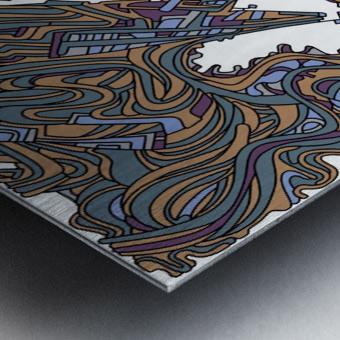 Wandering Abstract Line Art 05: Yellow Metal print