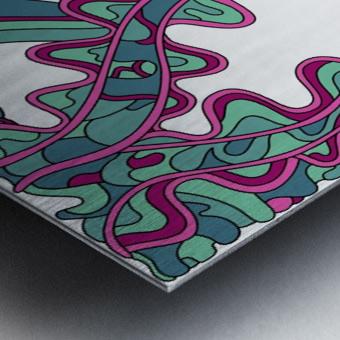 Wandering Abstract Line Art 07: Green Metal print