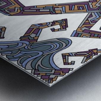 Wandering Abstract Line Art 08: Yellow Metal print