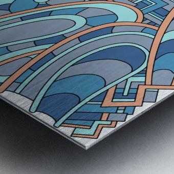 Wandering Abstract Line Art 09: Blue Metal print