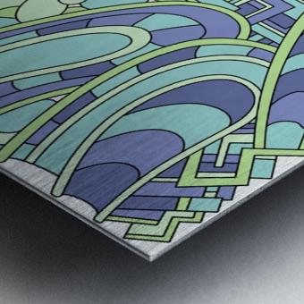 Wandering Abstract Line Art 09: Green Metal print