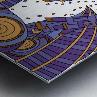 Wandering Abstract Line Art 10: Purple Metal print