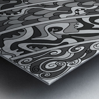Wandering Abstract Line Art 11: Grayscale Metal print