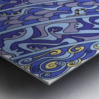 Wandering Abstract Line Art 11: Blue Metal print