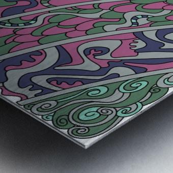 Wandering Abstract Line Art 11: Pink Metal print