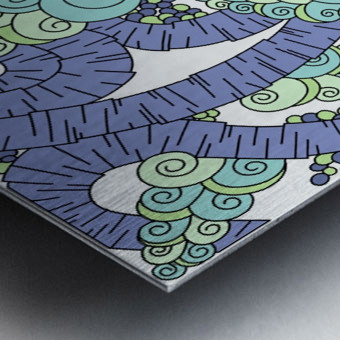 Wandering Abstract Line Art 13: Periwinkle Metal print