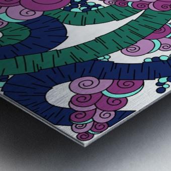 Wandering Abstract Line Art 13: Green Metal print