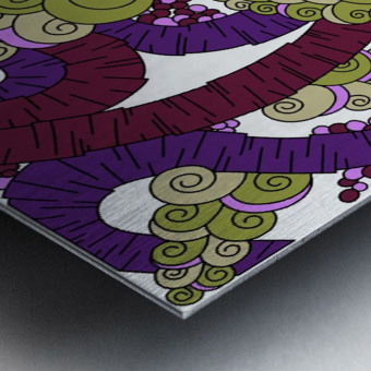 Wandering Abstract Line Art 13: Burgundy Metal print
