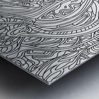 Wandering Abstract Line Art 14: Black & White Metal print