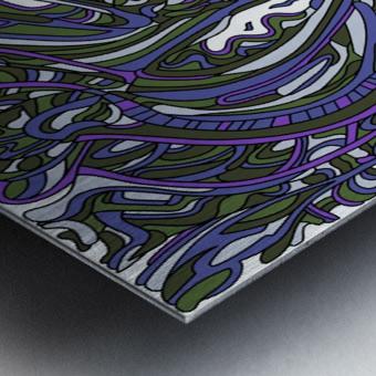 Wandering Abstract Line Art 14: Purple Metal print