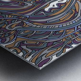 Wandering Abstract Line Art 14: Yellow Metal print