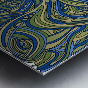 Wandering Abstract Line Art 17: Green Metal print