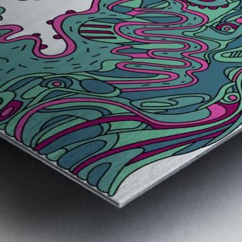 Wandering Abstract Line Art 20: Green Metal print