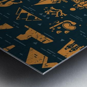 dark seamless pattern symbols landmarks signs egypt Metal print