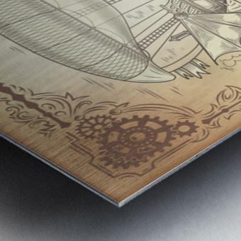 Vector steampunk poster illustration fantastic wooden flying ship Metal print