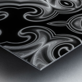 Classic Fractal in black and white Metal print