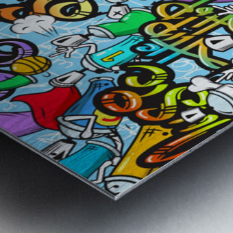 graffit characters seamless pattern Metal print