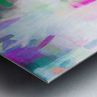 splash painting texture abstract background in pink blue green Metal print