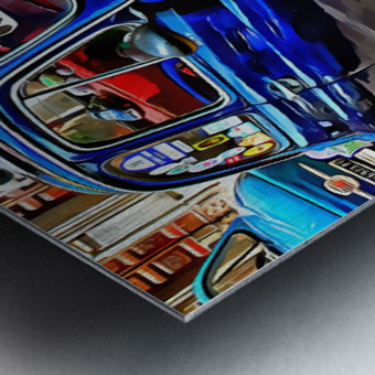 Fiat 500 Dark Blue Version Metal print