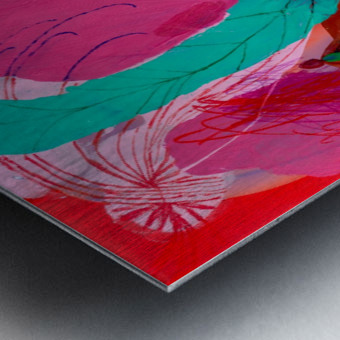 Green Feather Metal print