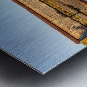 Harpersfield covered bridge and reflection Ashtabula County Ohio Metal print