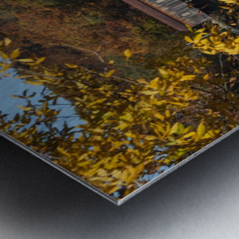 Harpersfield Ohio covered bridge in autumn Metal print