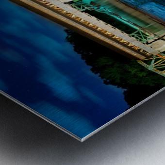 Night image of Harpersfield Covered Bridge over Grand River Ohio Metal print