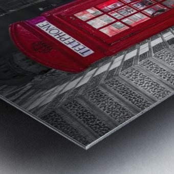 Telephone box with Big Ben, London, Uk Metal print