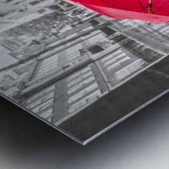Dog with umbrella on London city street Metal print