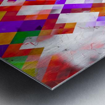colorful geometric square pixel pattern abstract art in orange red purple Metal print