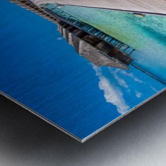 View of water bungalow in tropical island, Maldives, Indian ocean Metal print