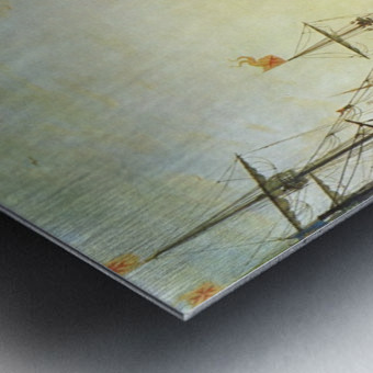 Seaport with the Villa Medici Metal print