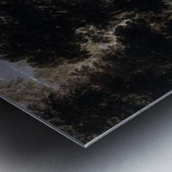 Paysage avec marchands Metal print