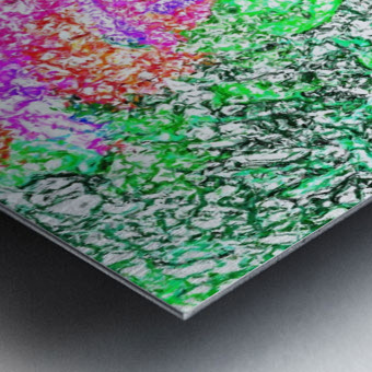 psychedelic splash painting abstract in pink purple green blue orange and yellow Metal print