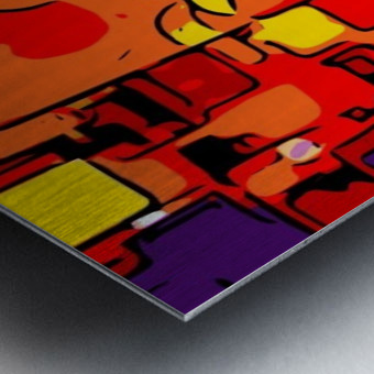 psychedelic geometric graffiti drawing and painting in orange pink red yellow blue brown purple and yellow Metal print