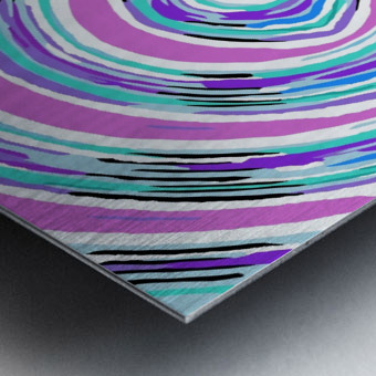 psychedelic graffiti circle pattern abstract in pink blue purple Metal print