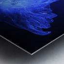 Glowing blue jellyfish in the dark water Metal print