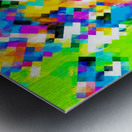 psychedelic geometric pixel abstract pattern in yellow blue green pink Metal print