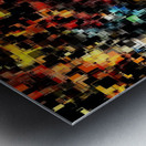psychedelic geometric pixel square pattern abstract background in red orange blue yellow black Metal print