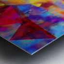 vintage psychedelic triangle polygon pattern abstract in orange yellow red blue purple Metal print