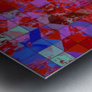 geometric square and triangle pattern abstract in red and blue Metal print
