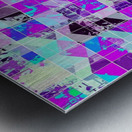 geometric square pattern abstract in purple blue Metal print
