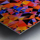 geometric triangle pattern abstract in blue orange red Metal print