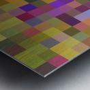 geometric square pixel pattern abstract in yellow green purple Metal print