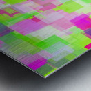 geometric square pattern abstract background in pink and green Metal print