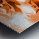 Orange Cream - orange black white swirls abstract wall art Metal print