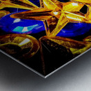 Blue and Gold Plastic Jewels Metal print