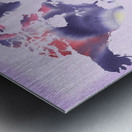 Watercolor Silhouette World Map Lilac Blue And Purple Metal print