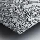 Wandering Abstract Line Art 05: Black & White Metal print